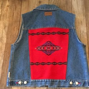 Pendleton Native American Blanket Denim Jean Vest